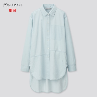 Women Long-Sleeve Long Shirt (Jw Anderson), Blue, Medium