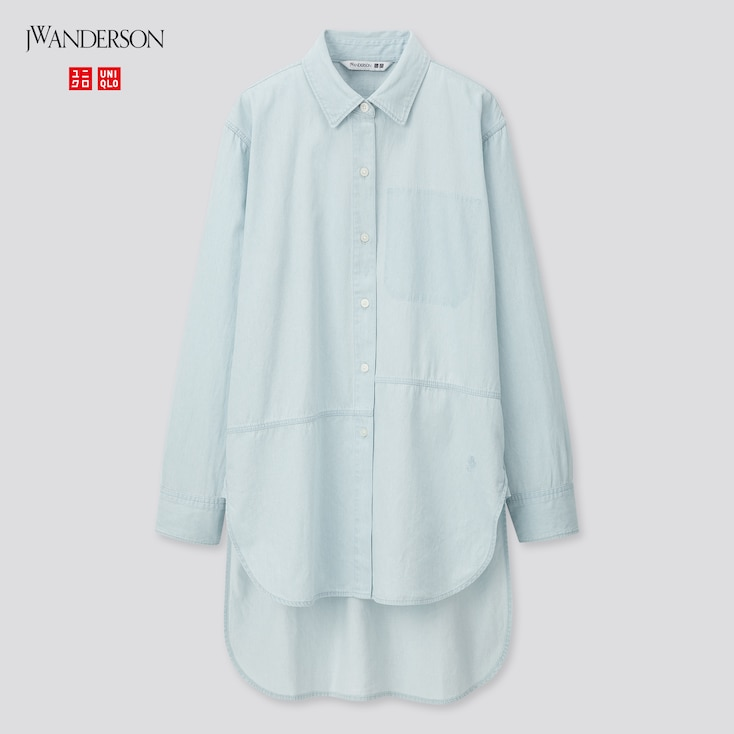 Women Long-Sleeve Long Shirt (Jw Anderson), Blue, Large