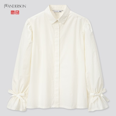 Women Gathered Long-Sleeve Shirt (Jw Anderson), Off White, Medium