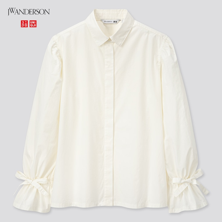 Women Gathered Long-Sleeve Shirt (Jw Anderson), Off White, Large