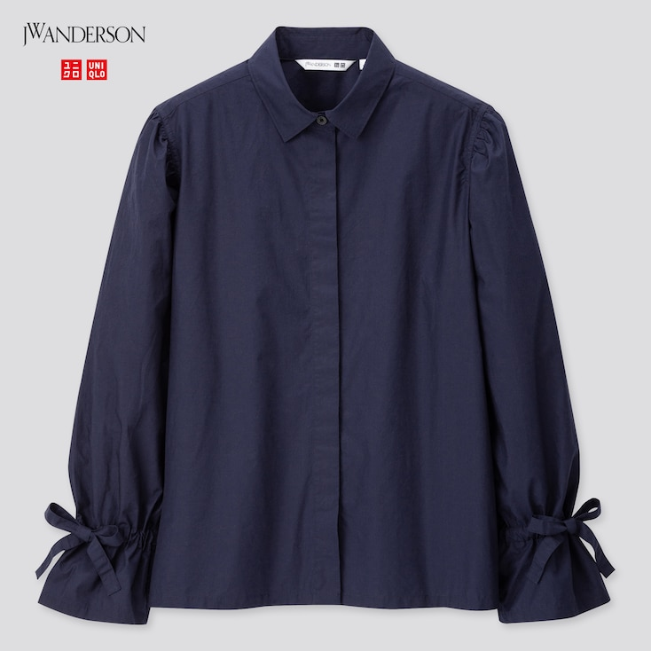 Women Gathered Long-Sleeve Shirt (Jw Anderson), Navy, Large