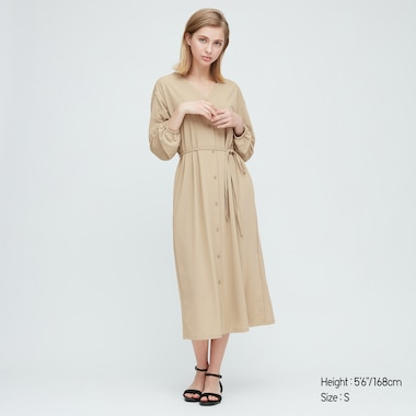 Women Crepe Jersey Long Sleeved Dress