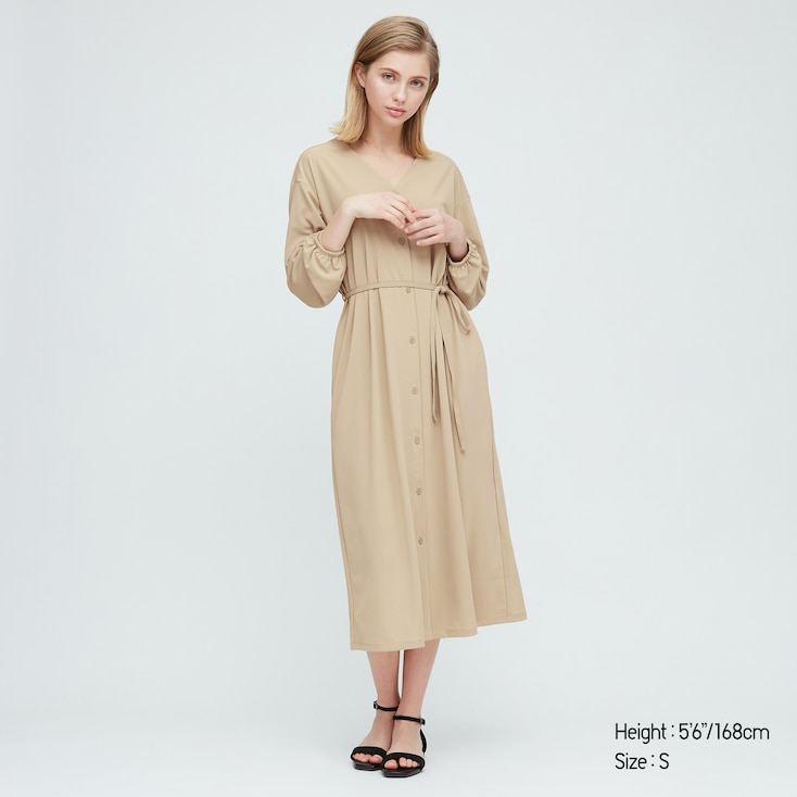 Women Crepe Jersey Long-Sleeve Dress, Beige, Large