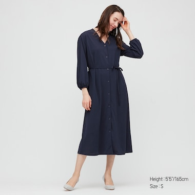 Women Crepe Jersey Long-Sleeve Dress, Navy, Medium