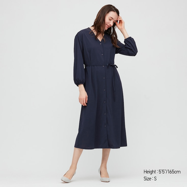 Women Crepe Jersey Long-Sleeve Dress, Navy, Large
