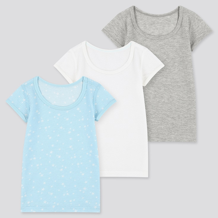 Toddler Cotton Mesh Short-Sleeve T-Shirt (Set Of 3), Blue, Large