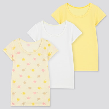 Toddler Cotton Mesh Inner Short-Sleeve T-Shirt (Set Of 3), Cream, Medium