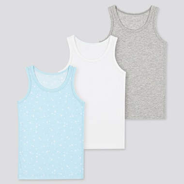 Babies Toddler Cotton Mesh Vest Tops (Three Pack)