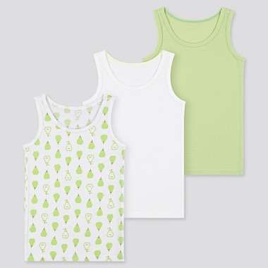 Toddler Cotton Mesh Tank Top (Set Of 3), Green, Medium