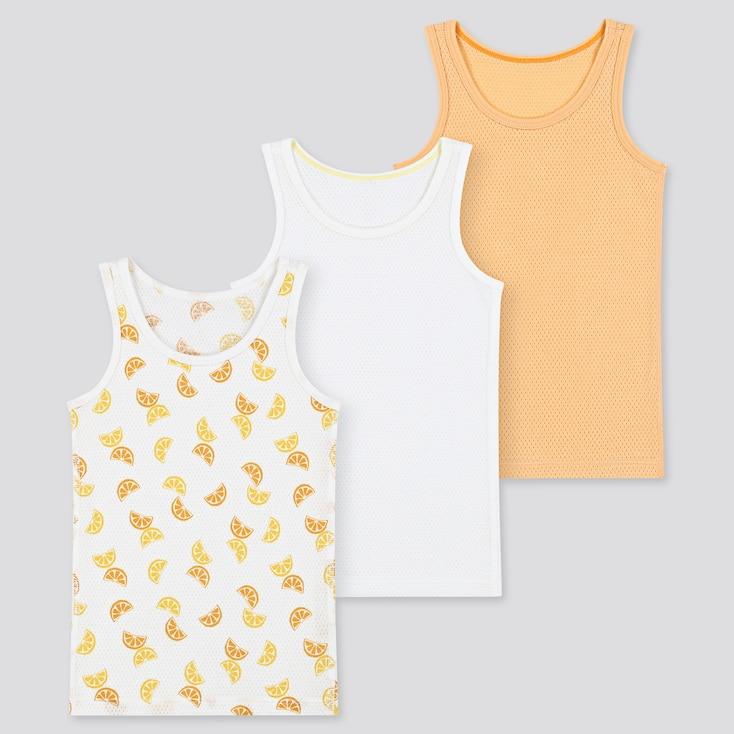 Toddler Cotton Mesh Tank Top (Set Of 3), Light Orange, Large