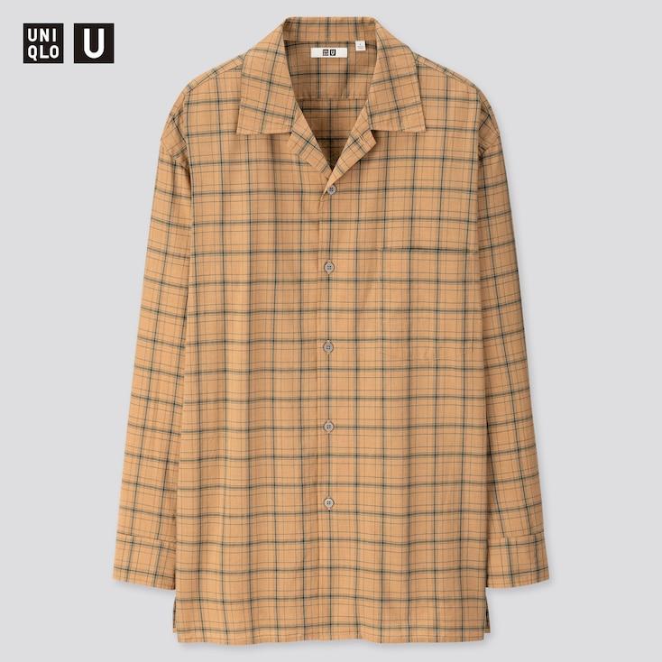 Men U Modal Cotton Open Collar Long-Sleeve Shirt, Brown, Large