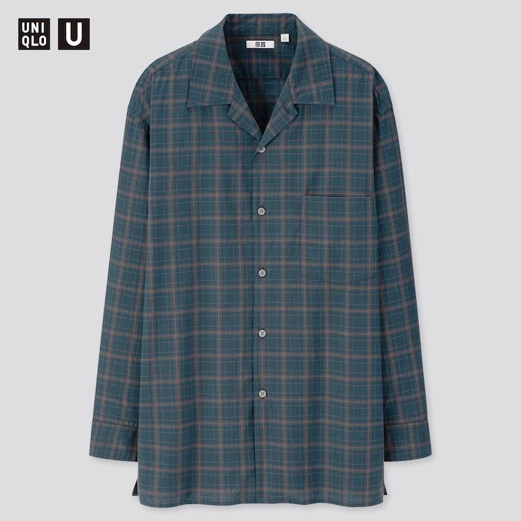 Men U Modal Cotton Open Collar Long-Sleeve Shirt, Blue, Large