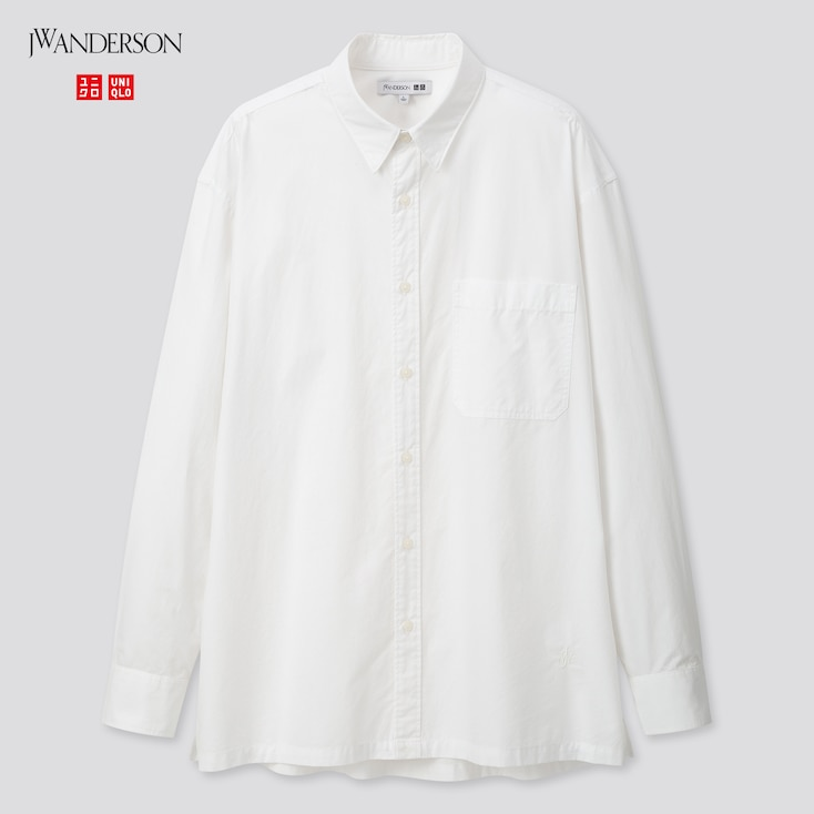 Men Extra Fine Cotton Broadcloth Long-Sleeve Shirt (Jw Anderson), White, Large