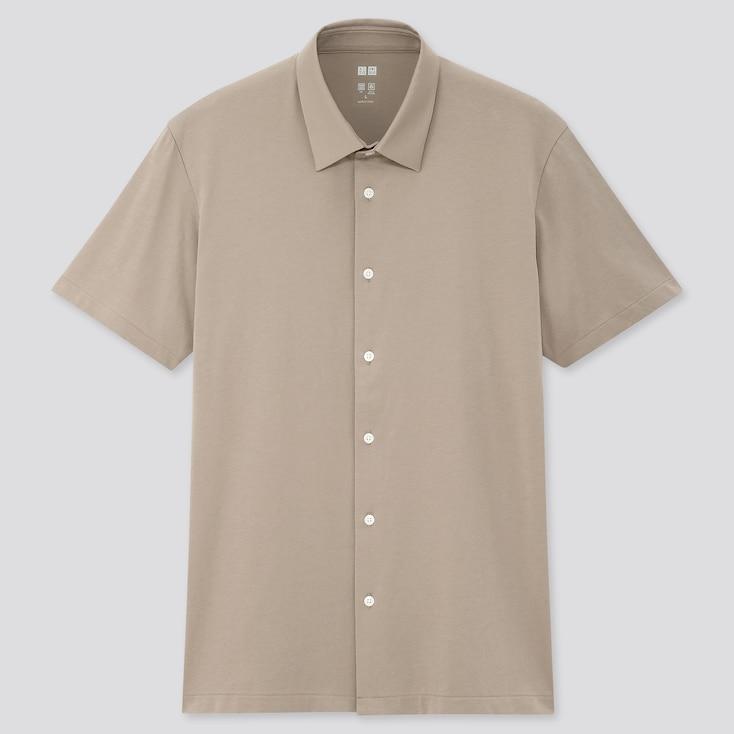 Men Airism Jersey Open Collar Short-Sleeve Polo Shirt, Beige, Large