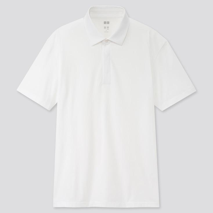 Men Airism Jersey Short-Sleeve Polo Shirt, White, Large