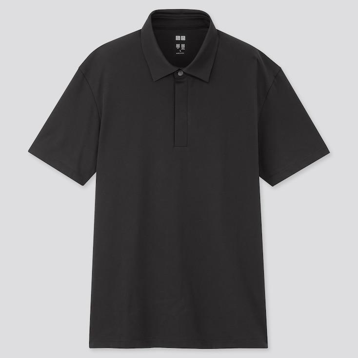 Men Airism Jersey Short-Sleeve Polo Shirt, Black, Large