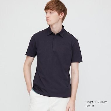 Men Airism Jersey Short-Sleeve Polo Shirt, Navy, Medium