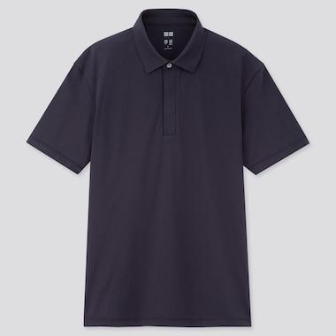 Men Airism Jersey Short-Sleeve Polo Shirt, Navy, Medium