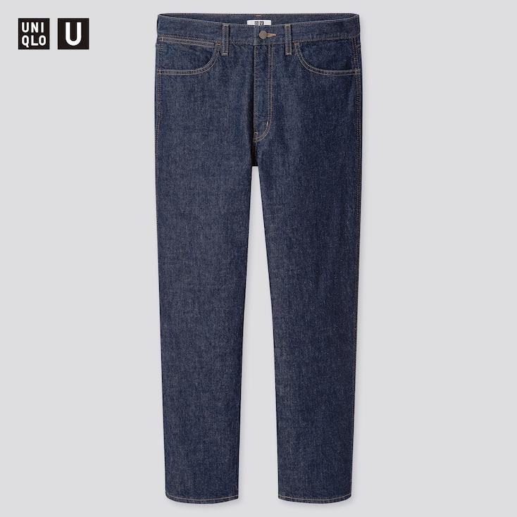 Men U Slim-Fit Straight Jeans, Navy, Large
