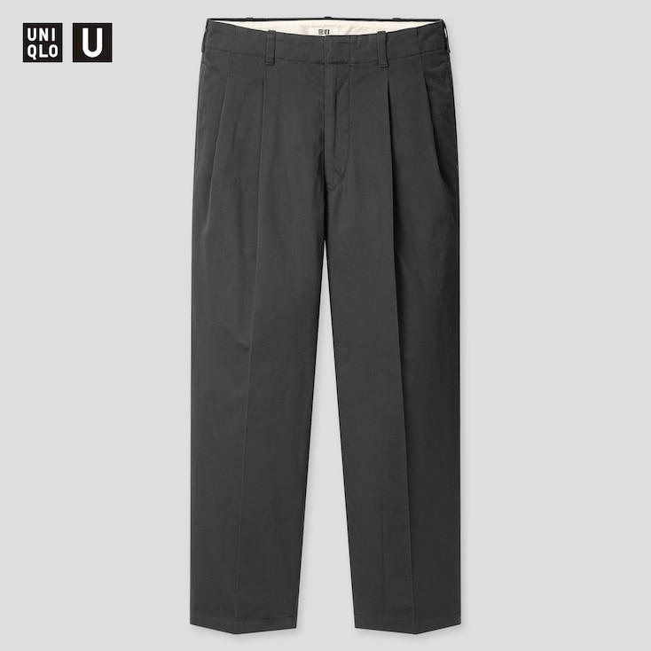 Men U Wide-Fit Pleated Tapered Pants, Dark Gray, Large