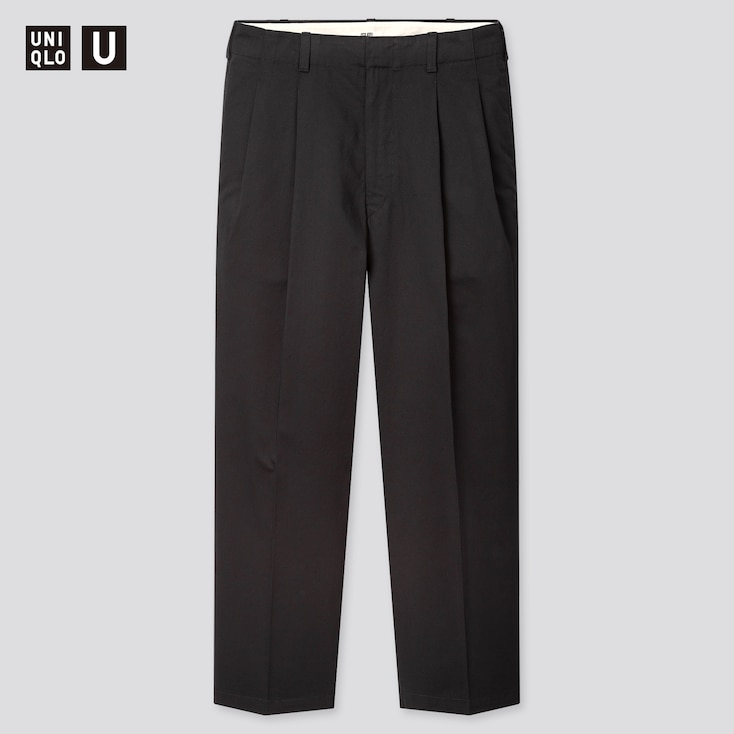 Men U Wide-Fit Pleated Tapered Pants, Black, Large