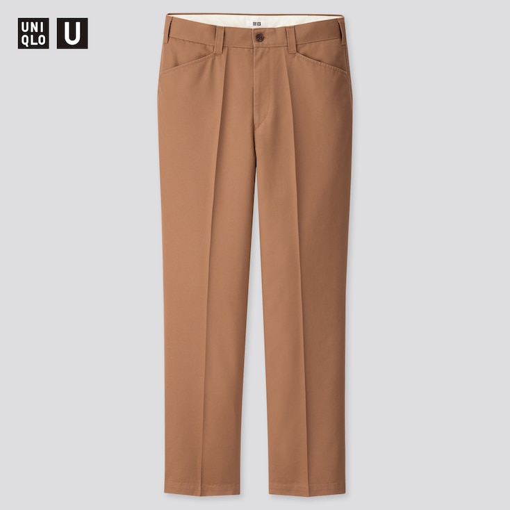 Men U Wide-Fit Pleated Tapered Pants, Brown, Large