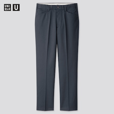 Men Uniqlo U Wide Fit Pleated Tapered Trousers