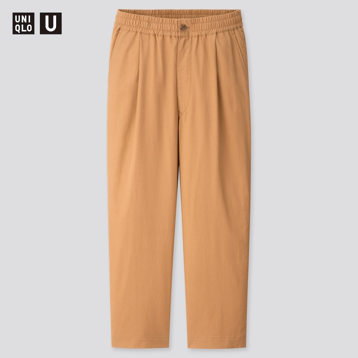 Men U Relaxed Wide-Fit Pants, Beige, Large