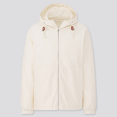 Men Lightweight Full-Zip Parka, Off White, Medium