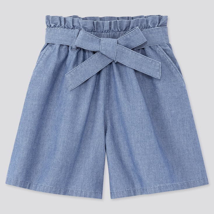 Girls Chambray Belted Culottes, Blue, Large