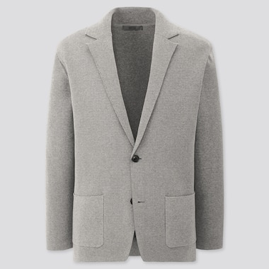 Men Stretch Milano Ribbed Jacket, Gray, Medium