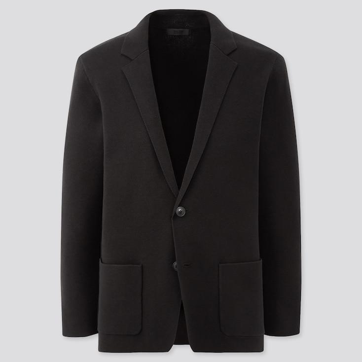 Men Stretch Milano Ribbed Jacket, Black, Large