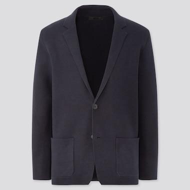Men Stretch Milano Ribbed Jacket, Navy, Medium