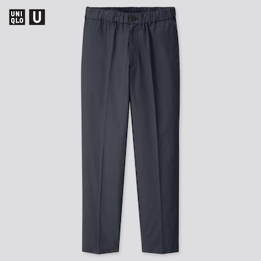 Men U Cotton Linen Wide-Fit Tapered Pants, Navy, Medium