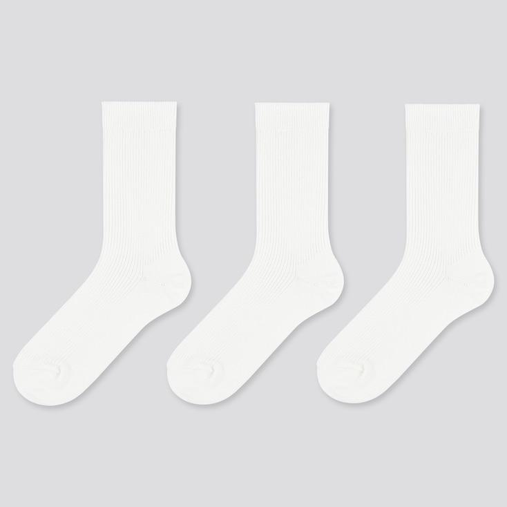 Women Ribbed Socks (3 Pairs), White, Large