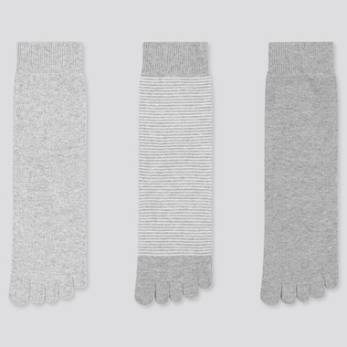 Women Toe Socks (3 Pairs) (Online Exclusive), Gray, Medium