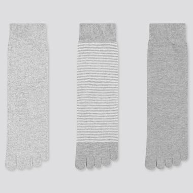 Women Toe Socks (3 Pairs) (Online Exclusive), Gray, Medium