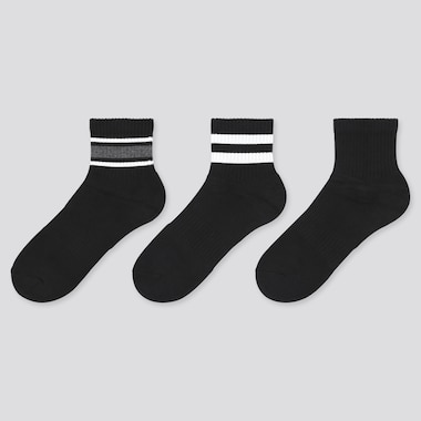 Women Pile Line Socks (3 Pairs), Black, Medium