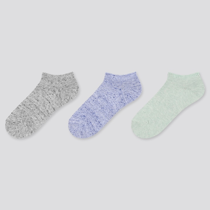 Women Heather Short Socks (3 Pairs), Gray, Large