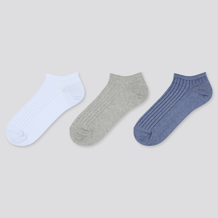 Women Ribbed Short Socks (3 Pairs), Light Blue, Large
