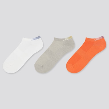 Women Sports Short Socks (3 Pairs), Off White, Medium