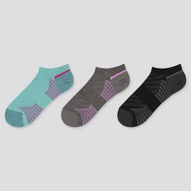Women Sports Short Socks (3 Pairs), Green, Medium
