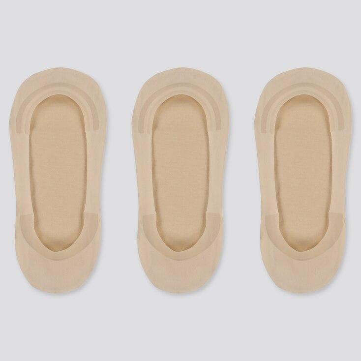 Women Sheer Footsies (3 Pairs), Beige, Large