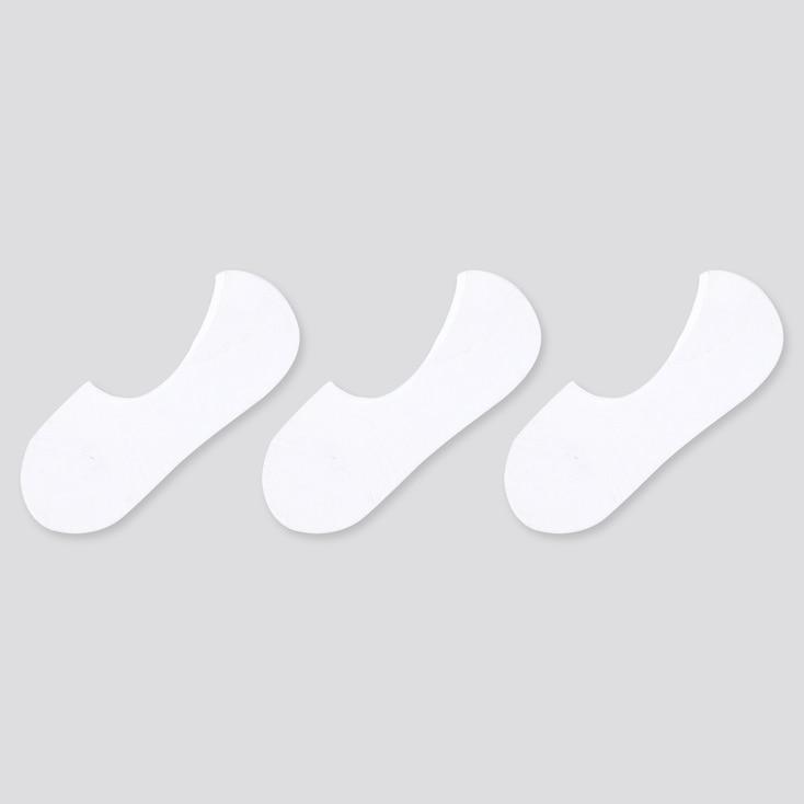 Women Pile Footsies (3 Pairs), White, Large