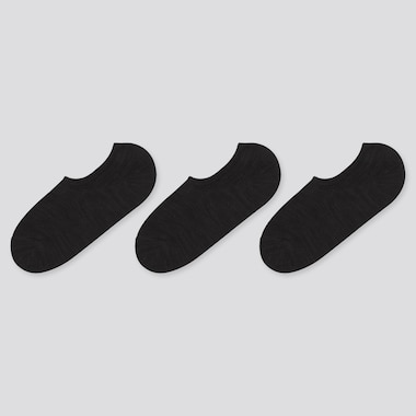 Women Slub Footsies (3 Pairs), Black, Medium