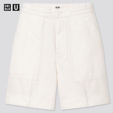Women U Denim Relaxed Shorts, White, Medium