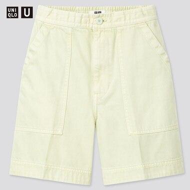 Women U Denim Relaxed Shorts, Light Green, Medium