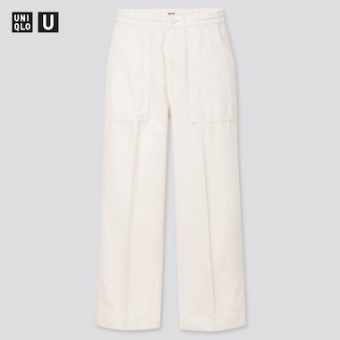 Women U Denim Relaxed Ankle Pants, White, Medium