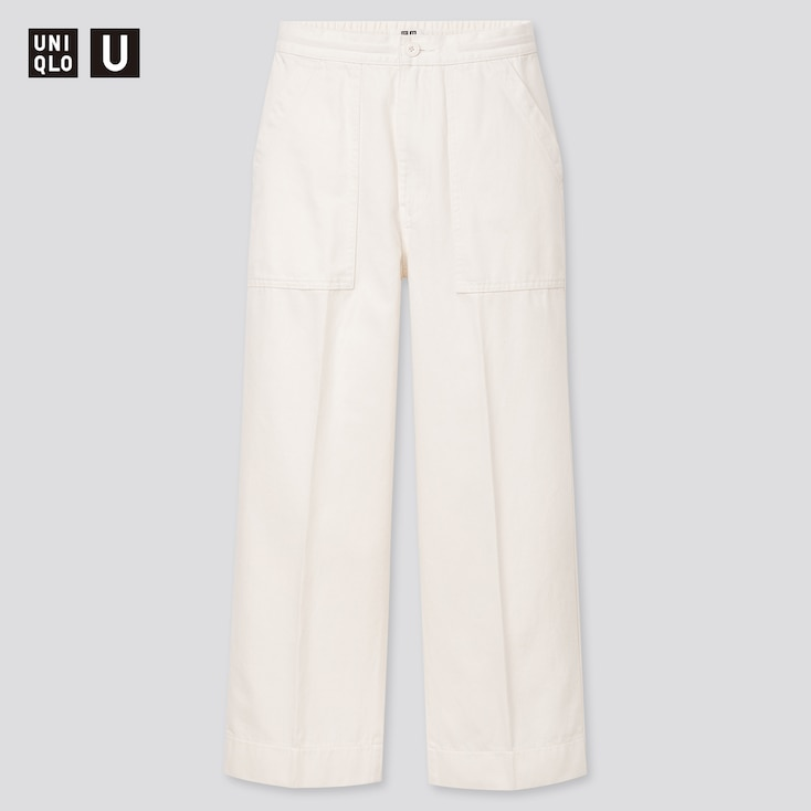 Women U Denim Relaxed Ankle Pants, White, Large