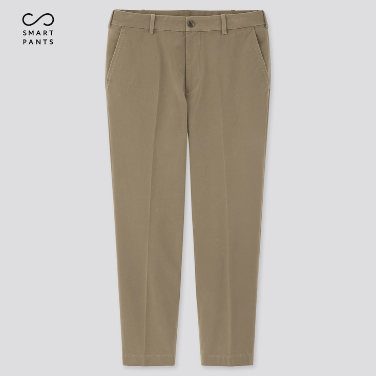 Men Smart 2-Way Stretch Cotton Ankle-Length Pants, Beige, Large